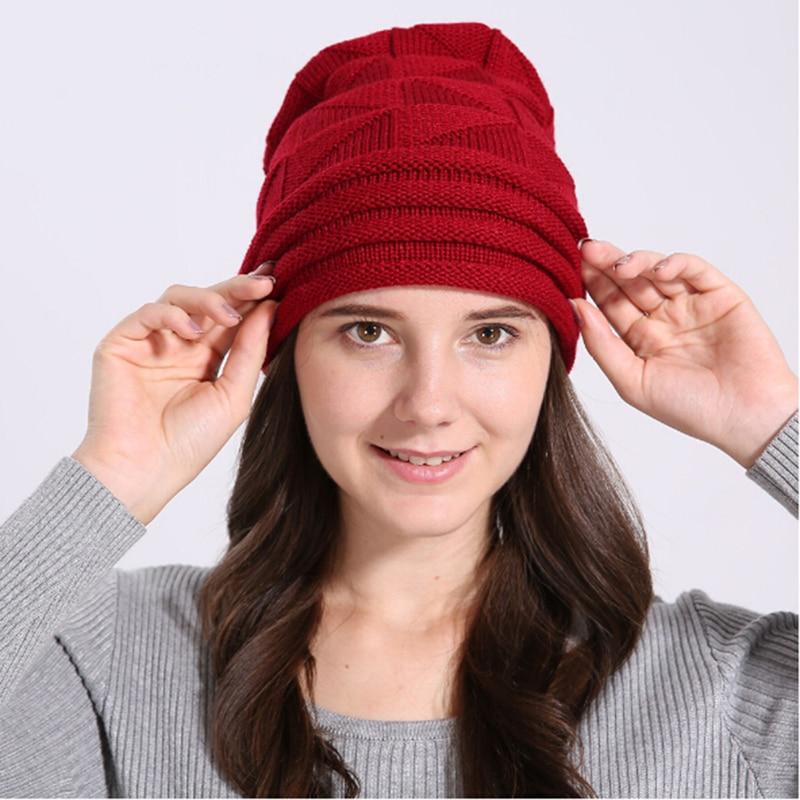 Winter Beanies Women Knitted Wool Hats Flanging Wool Beanie Female Girls Hat chapeau Crochet Hat Warm Skullies DP883640