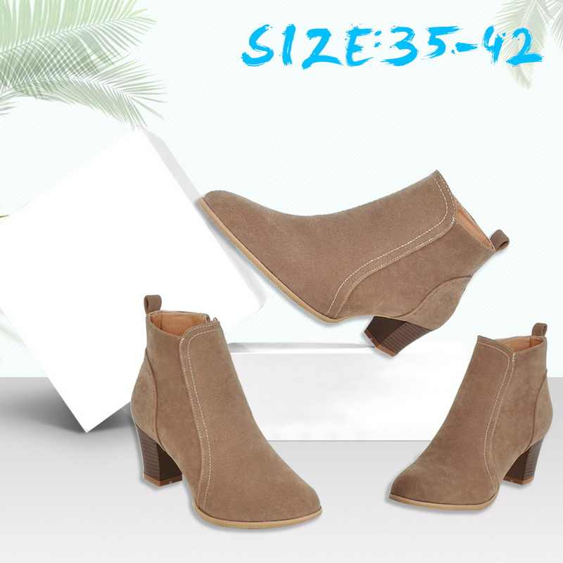 7678dc17 ... LASPERAL Shoes Women's Booties Bare Boots Thick With Women Booties  Flock Ankle Boots female Fashion Boot ...