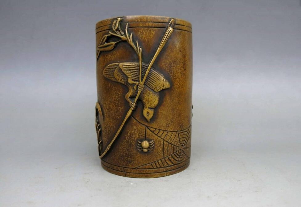 Chine laiton cuivre sculpté Belle araignée oiseau Brosse Pot Statue