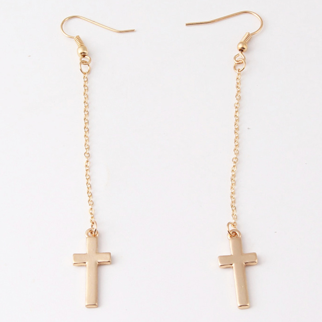 Fashion Simple Crucifix Shape Cross Hook Earrings For Women Jewelry Gifts Long Drop Dangle Earring Penntes