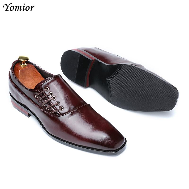 Yomior New Spring Summer Men's Dress Shoes Japanese Formal Business Oxfords Vintage Men Elegant Shoes Party Wedding Shoe Black 3