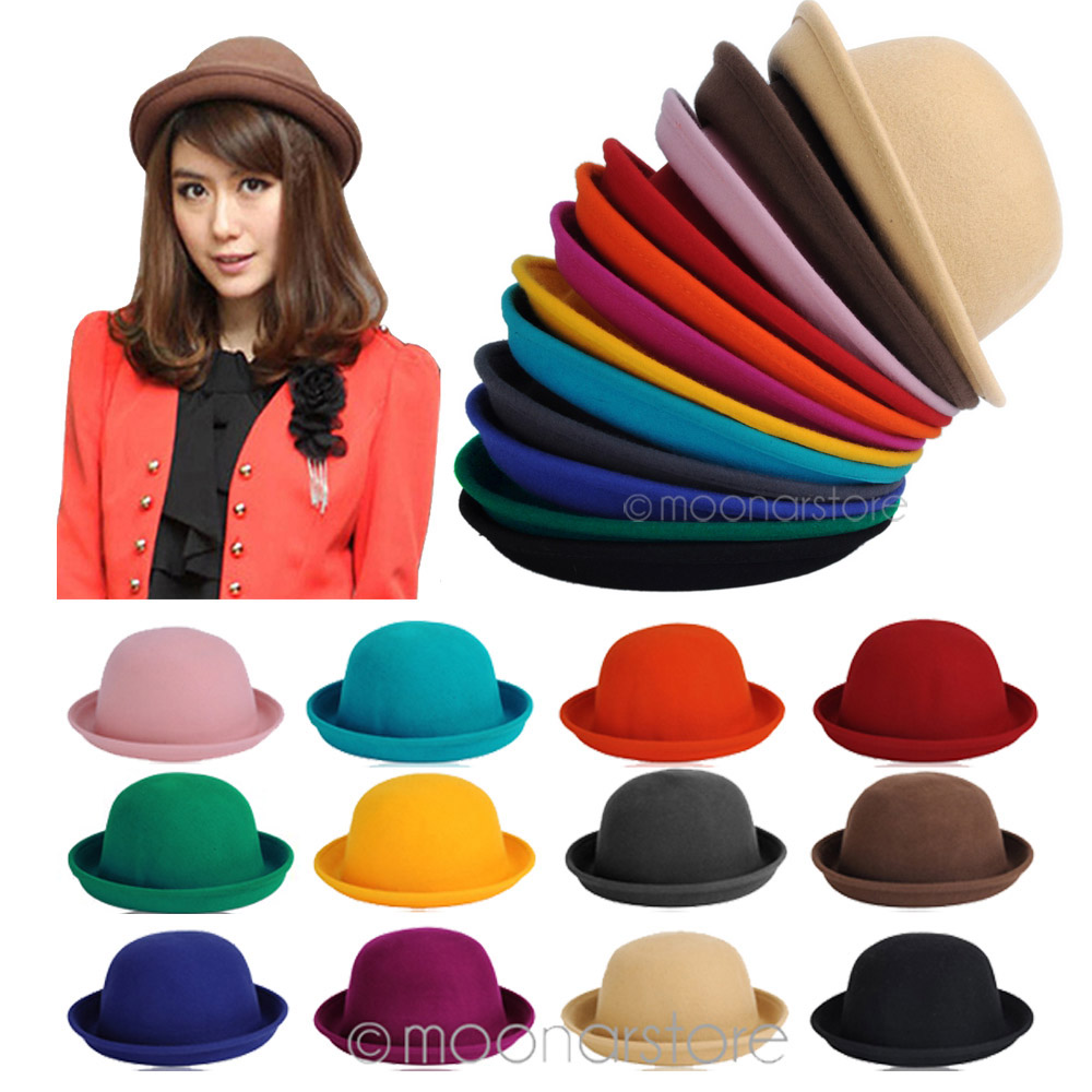 outlet for sale great prices hot sales 2019 New Fashion Retro Felt Hat Women Woolen Fedora Bowlers Hat Cap for  Ladies Girls Winter Fall Casual Round Hat #H1017