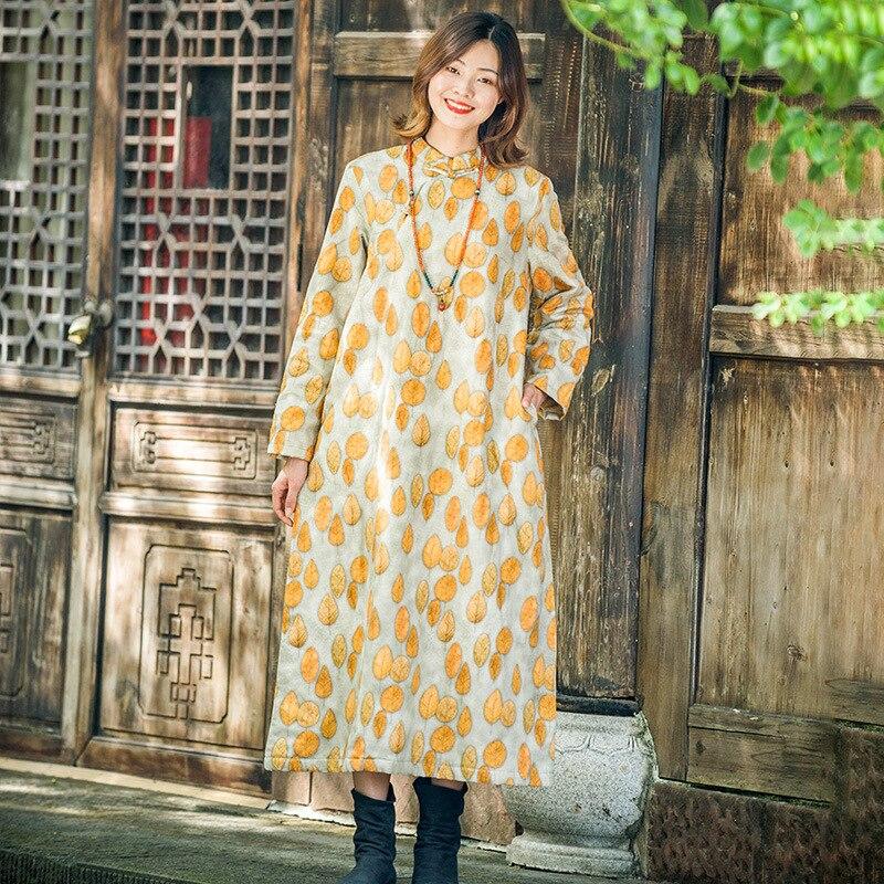 Lino Colore Giallo Retro Abito Di Autunno Imbottito Piatto Cotone Eleganti Qipao Abbigliamento Pulsante Delle Inverno Donne Cheongsam D'epoca TrTax71wq