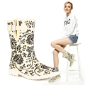 Rain Shoes Fashion Middle Blue And White Porcelain Women's Rain Boots Chinese Syle Pattern Rainboots Girl Water Shoes