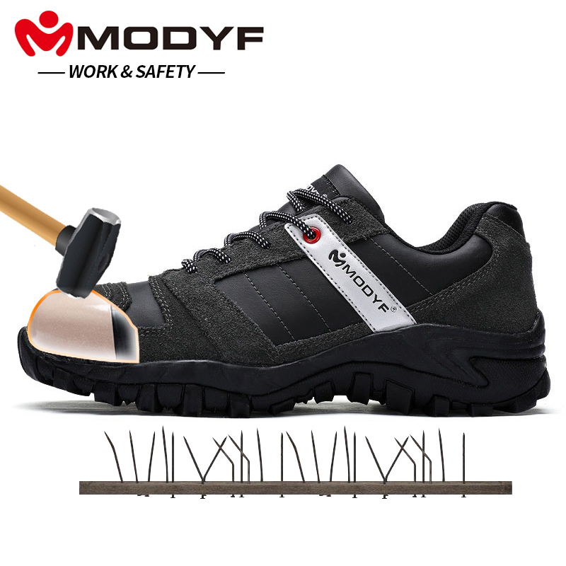Modyf Males Metal Toe Cap Work Security Shoe Real Leather-based Informal Anti-Kick Footwear Out of doors Puncture Proof Sneaker