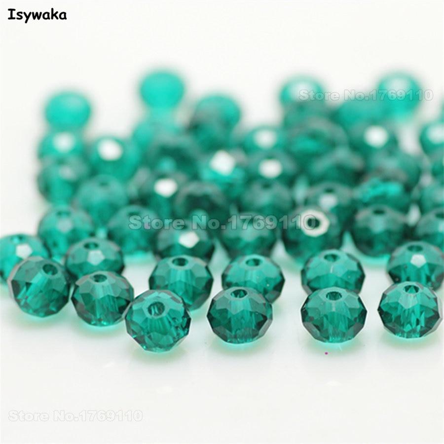 Isywaka разноцветные 4*6 мм 50 шт Австрийские граненые стеклянные бусины Rondelle, круглые бусины для изготовления ювелирных изделий - Цвет: Blue Green
