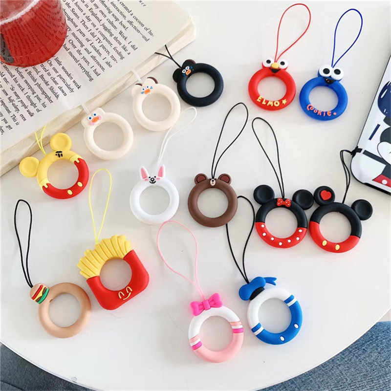 Cute Cartoon Silicone Lanyard For Keys Phones Strap for iPhone 7 Plus 8 6 Keycord Lanyards Finger Rings Mobile Phone Accessories