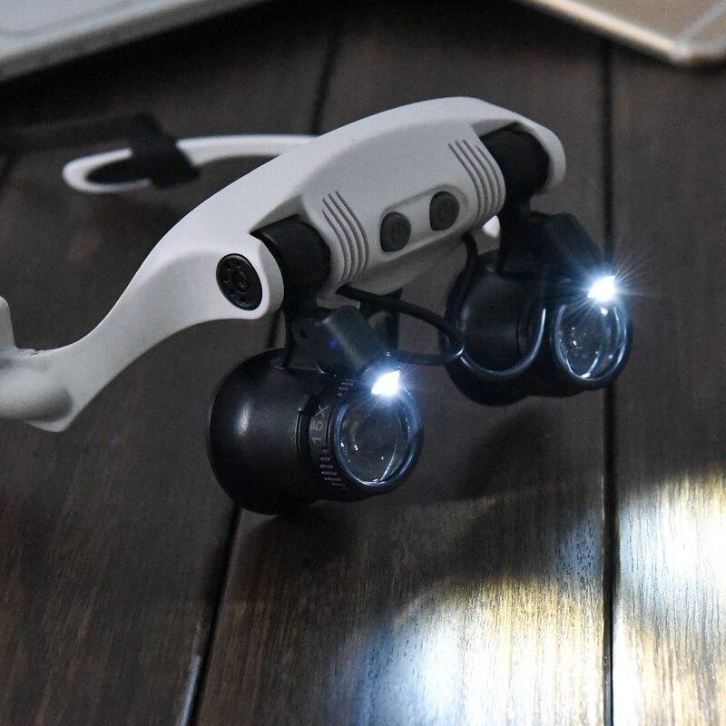 10x 15x 20x 25x Multi-Power Tragen Brille Augen Beleuchtete Lupen Uhr Reparatur Lupe