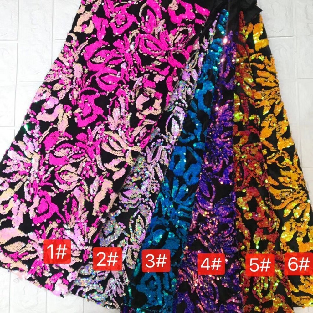 African French lace fabric with 3D embroidery to sew high quality Nigerian sequins lace for weddings