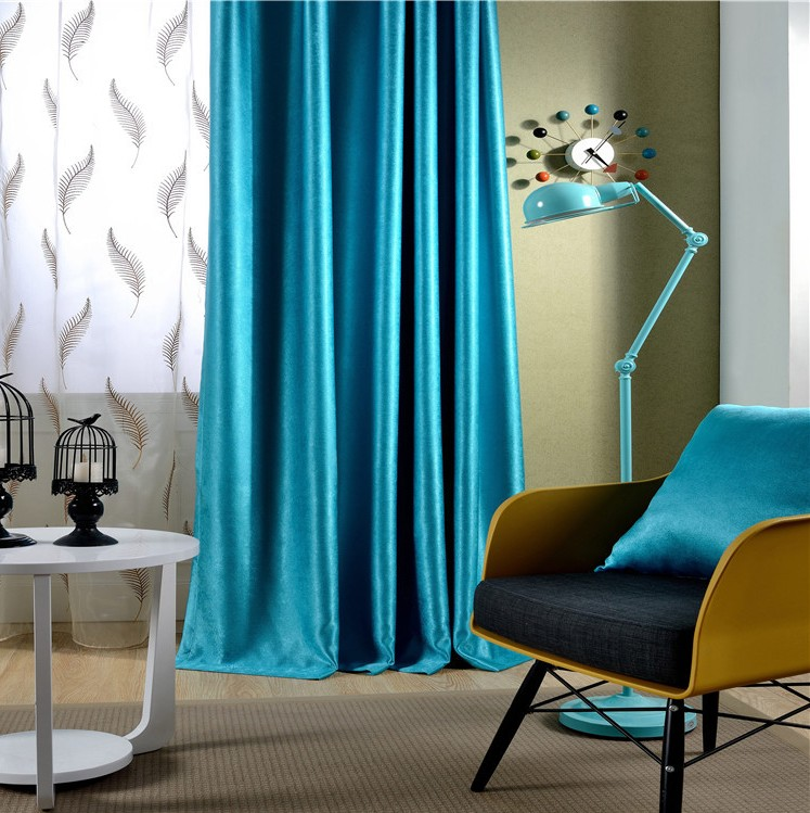 2 Pieces Solid Color Luxury Window Curtains For Living Room D Blackout Bedroom Custom Made In From Home Garden On