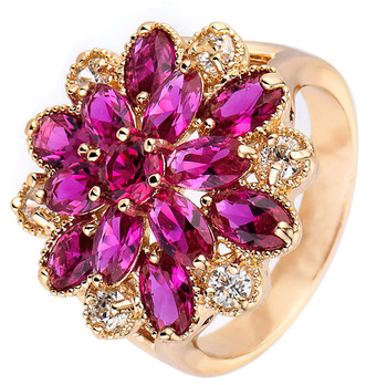 Complicated Design Jewelry Yellow Gold Filled Gem Flower Big Rings Big Zircons For Graceful Ladies Ring gold earrings for women