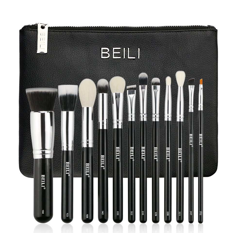 BEILI 12 pieces Black Premium goat hair Synthetic Powder Foundation blusher eye shadow Concealer Makeup brushes set Cosmetic bag cosmetic makeup 24 color eye shadow 3 color grooming powder 3 color blusher palette black