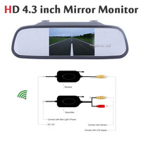 4 3 Inch TFT Car Rearview Mirror Monitor LCD Screen Auto 2 4G Wireless Transmitter Receiver
