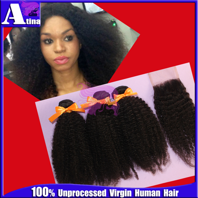 Mongolian Afro Kinky Curly Virgin Hair Bundles With Lace Closures
