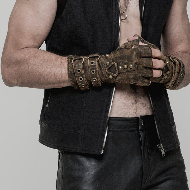 Mode Steampunk hommes mitaines gants Punk rétro Rivets gants en cuir militaire gothique gants moto