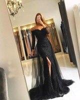 Black Muslim Evening Dresses 2018 Mermaid 3 4 Sleeves Lace Beaded Slit Islamic Dubai Kaftan Saudi