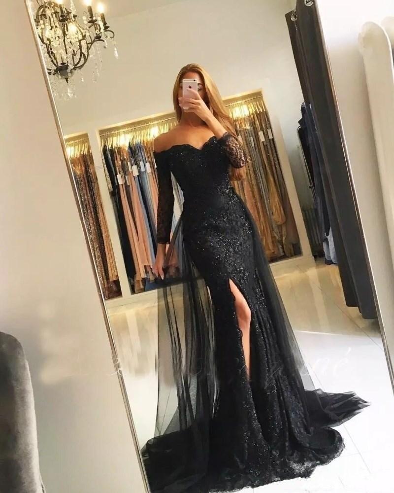 Robes de soirée musulmanes noires 2019 manches sirène 3/4 dentelle perlée fente islamique dubaï caftan saoudien arabe longue robe de soirée