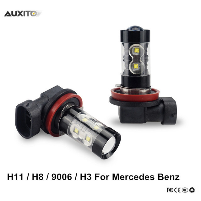 H8 H11 H3 9006 LED Car Fog Lights Driving DRL Bulb 50W For Mercedes Benz W211 W203 W204 W210 W124 AMG W202 W212 W220 W205 CLA