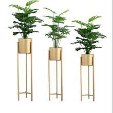 Nordic wrought iron flower stand simple modern indoor floor metal creative green rose balcony fleshy pot