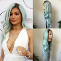 Fashion Ombre Mint Green Long Bodywave Synthetic Lace Front Wig Glueless Natural Black/Light Green Heat Resistant Hair Women Wig