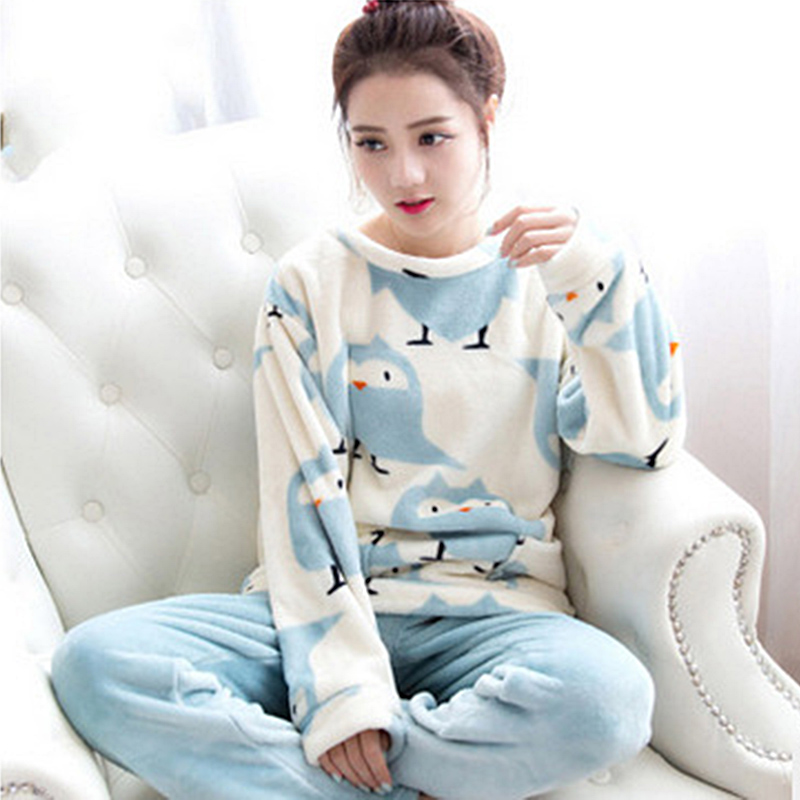 Women's Ladies Cotton Flannel Pyjama PJ Set animals cat/bird print Sleepwear New Long Pyjama winter warm night suit M-2XL