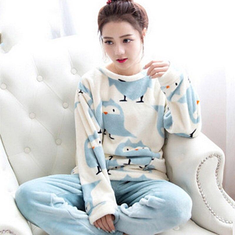 Womens Ladies Cotton Flannel Pyjama PJ Set animals cat/bird print Sleepwear New Long Pyjama winter warm night suit M-2XL