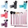 12 pcs pincéis de maquiagem + tube container maquiagem pinceaux nu paleta de maquiagem sombra fundação marcador rosa