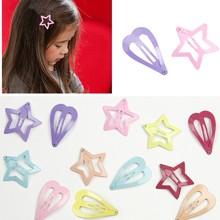 5PCS Japan and South Korea Lovely Heart Five-point Star Children Hairpin Girl Cute Candy Bangs Headdress Accessories Wholesale