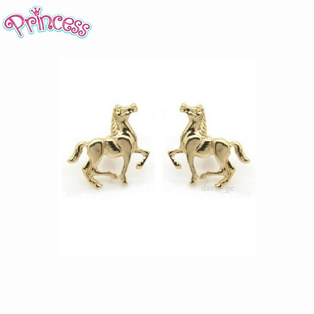 Серьги-пусеты для девочек, золотистые/Цветные в форме лошади, 0,8 дюйма X1 дюйма, подарок на день рождения, ASR, 2019