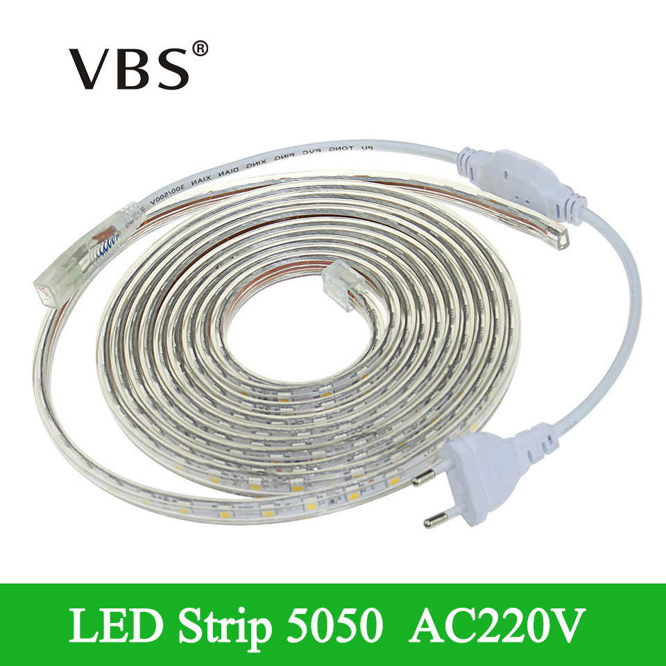 Dimmable RGB AC 220V LED Strip Light Waterproof Silicone Tube 1/2/3/4/5/6/7/8/9/10/12/15/20m RGB White 60LEDs/m + EU Power Plug