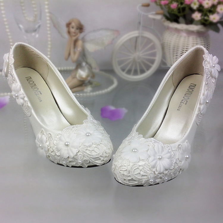 Sapatos mulheres bombas Sapatos de Casamento Flor De Renda Branca Pérola plataforma saltos Sapatos de salto Alto Sapatos de Casamento Da Noiva Da Dama de honra branco - 3