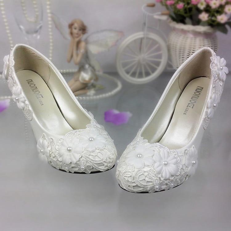 Shoes women pumps White Lace Flower Wedding Shoes Pearl High heels Bride Wedding Shoes Bridesmaid Shoes white heels platform - 3