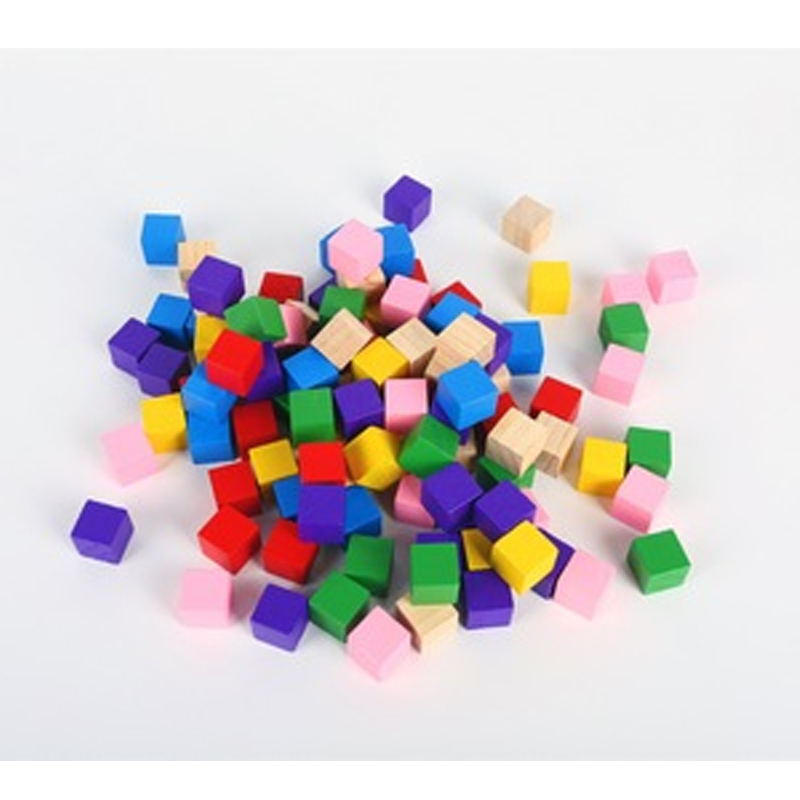100Pcs/set 15mm 8 Color Wood Square Corner Colorful Dice Chess Piece Right Angle For Token Puzzle Board Game