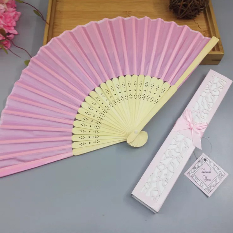 3eb7d0294442 100pcs custom logo Silk Folding fan wedding return gift bridal shower  giveaways anniversary party gifts personalized hand fans-in Party Favors  from Home ...