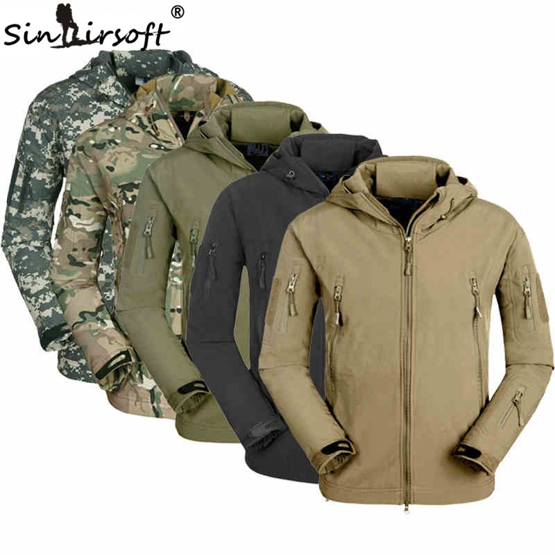c07b16ef2f2ec Men Military Tactical Jackets Outdoor Waterproof Army Sports Camouflage  Hunting Hiking Fleece Lining Coat softshell jacket -in Hunting Coats &  Jackets from ...