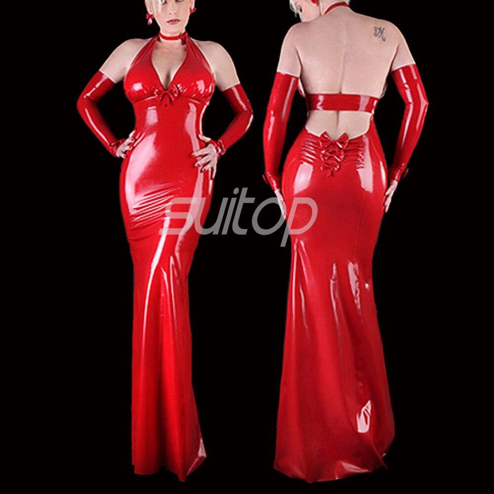 Латекс резиновая Русалка платье пикантные Клубные Длинные платья Longuette красный цвет вечерней одежды вечерняя одежда