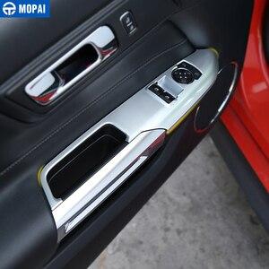 Image 2 - Para coches MOPAI de elevación de ventana Interior para coche, Panel de botón interruptor, cubierta decorativa, pegatinas embellecedoras para Ford Mustang 2015 + Accesorios de coche