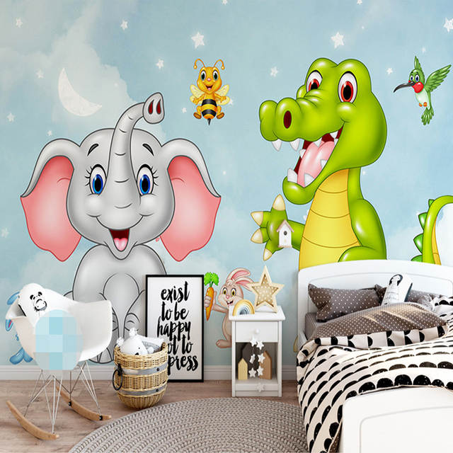 Us 9 48 49 Off Custom Mural Wallpaper 3d Hd Cartoon Elephant Dinosaur Children Room Bedroom Background Wall Decoration Wall Painting Wallpaper In