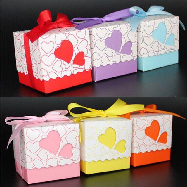 Free shipping 20pcs Heart Wedding Favor Candy Box with Ribbon wedding souvenirs decoration mariage lembrancinha de casamento