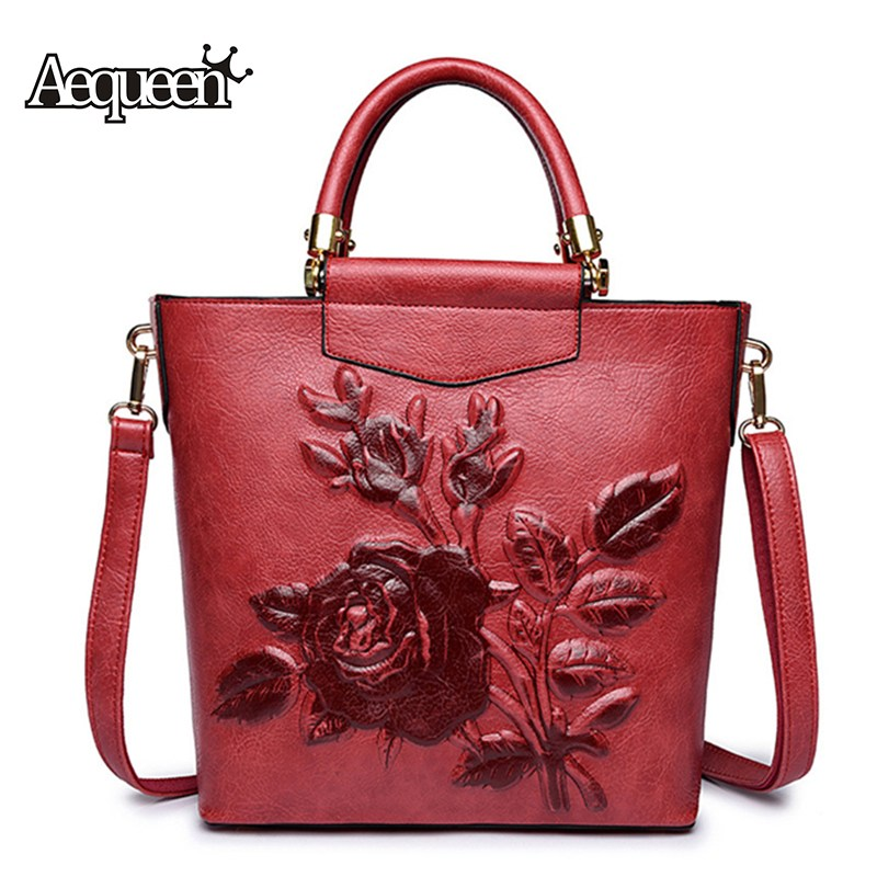 AEQUEEN Women PU Leather Handbags Luxury Shoulder Bag Red Buckets Bag Ladies Large Totes Flower Crossbody Bags For Girls Bolsas six senses small women messenger bags fashion ladies handbags totes woman crossbody bags pu leather shoulder bag bolsas xd3940