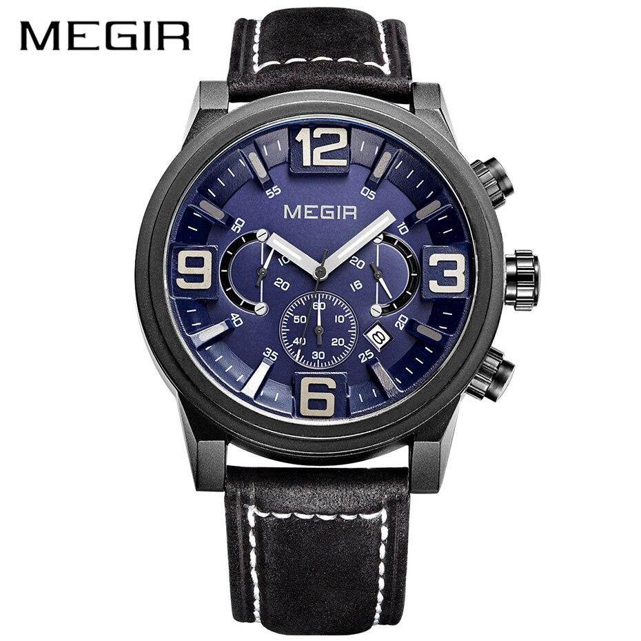 MEGIR Erkek Kol Saati montre hommes mode militaire en cuir homme montres bracelet Sport chronographe décontracté Quartz montres hommes horloge
