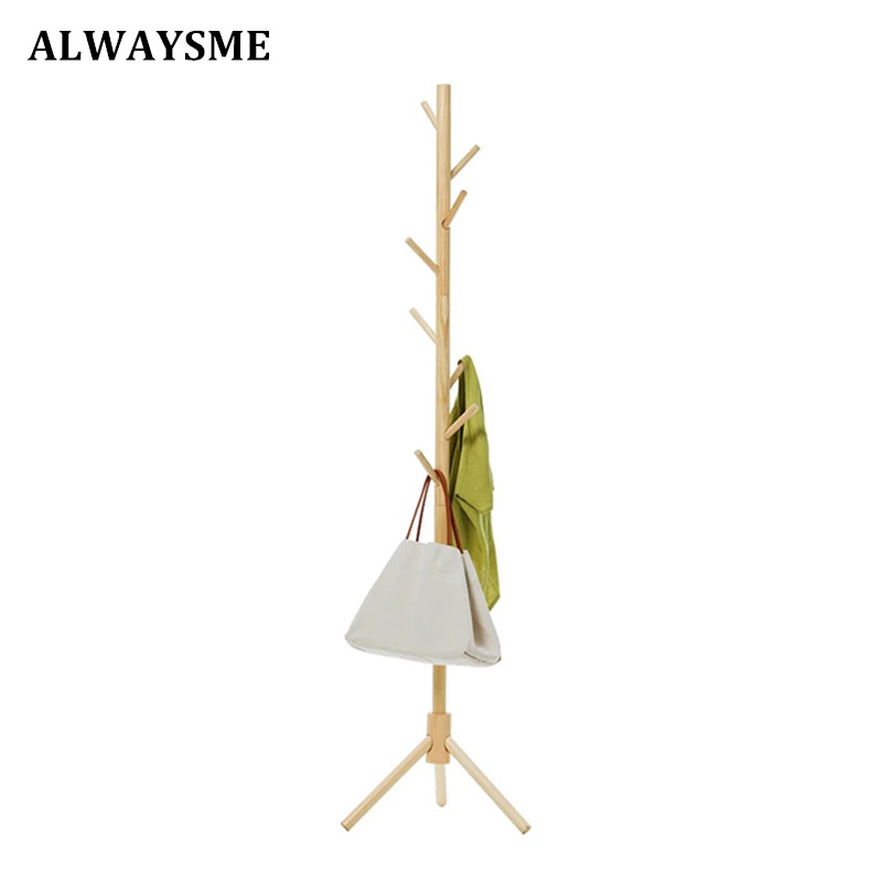 ALWAYSME Premium Wooden Coat Rack Free Standing With 8 Hooks Wood Tree Coat Rack Stand For Coats Hats Scarves Clothes Handbags inness sturdy coat rack solid rubber wood hall tree with tripod base suitable for aduit bule