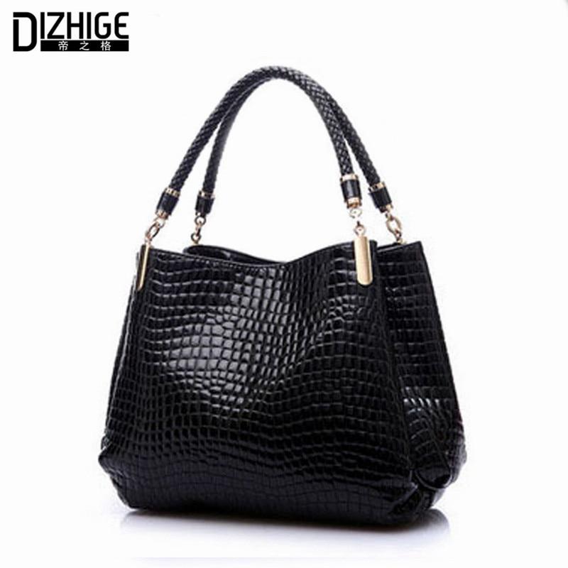 2018 Alligator Leather Women Handbag Bolsas De Couro Fashion Famous Brands Shoulder Bag Black Bag Ladies