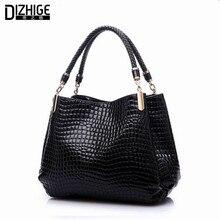 Couro брендов аллигатор известных femininas bolsas черная кожаные де моды женская