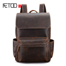 AETOO Brand Designer Men Genuine Leather Backpack Crazy Horse Vintage Daypack Multi Pocket Casual Rucksack Handmade Tote