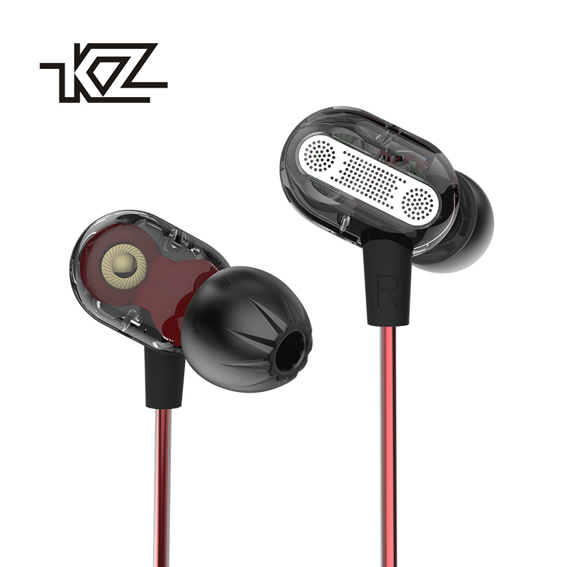 KZ ZSE Dynamic Dual Driver Earphone Transparent In Ear Headset Audio Monitors Earpieces Noise Isolating HiFi Music Sport Earbuds  kz zs1 dual dynamic driver monitoring noise cancelling stereo in ear monitors headset hifi earphone with microphone for phone
