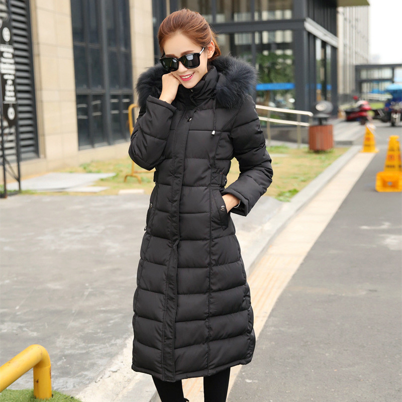 Fur Collar Hooded women's Winter Coat Female Cotton Padded Jacket Long Section Women Winter Parka Large Size Overcoat TT288 winter feather cotton women outwear long section thick section slim hooded coats large fur collar large size down jacket lx165