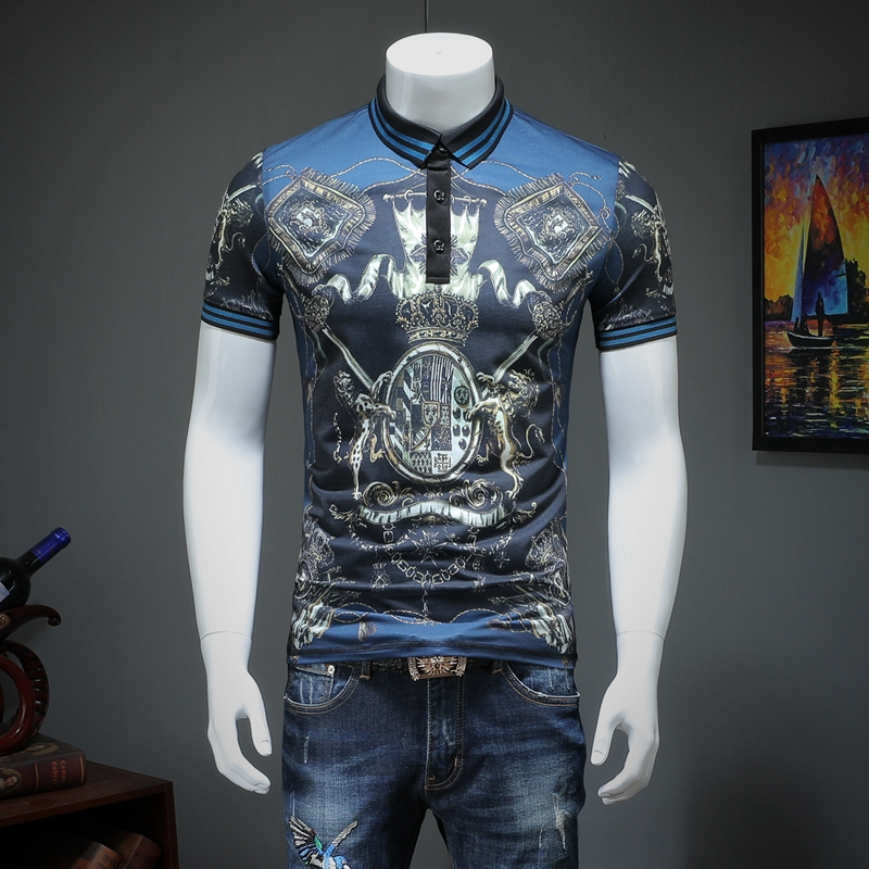 2019 summer men lapel   POLO   short-sleeved shirt printing qiantang qt2009 article number T319 P75