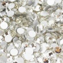 Atacado SS3 SS40 cristal claro branco 3d decoração da arte do prego strass prata flatback strass gemas glitter.