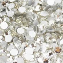 Toptan SS3 SS40 temizle kristal beyaz 3D Nail Art dekorasyon rhinestones gümüş Flatback Rhinestones Glitter taşlar.
